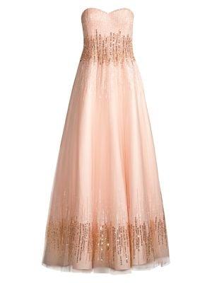 Strapless Ombré Sequin Ball Gown