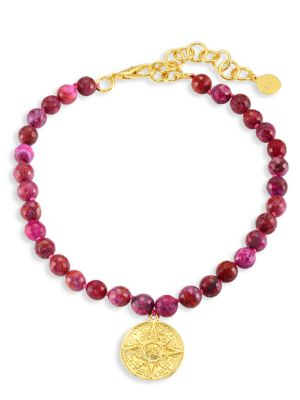 22K Yellow Goldplated & Magenta Agate Beaded Choker Necklace