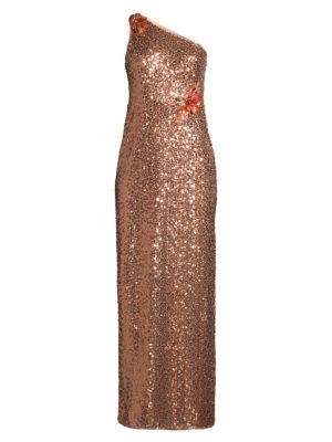 One Shoulder Shimmer Gown