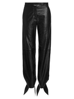 Bow-Hem Leather Track Pants