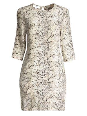 Aubrey Python-Print Shift Dress