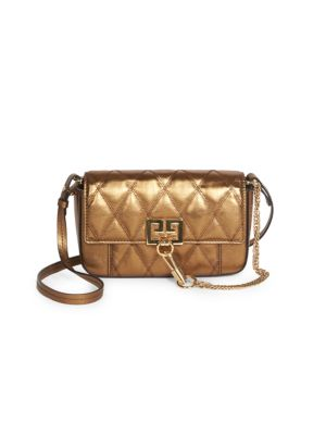 Mini Pocket Convertible Quilted Metallic Leather Belt Bag
