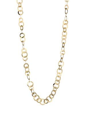 Classico Long 18K Yellow Gold Crinkle Link Necklace