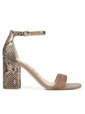 Daniella Ankle-Strap Snakeskin-Embossed Leather & Suede Sandals