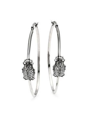Crystal Pavé Beetle Creole Hoop Earrings