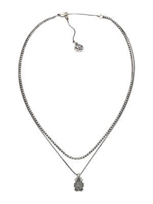 Swarovski Crystal Pavé Beetle Double-Chain Necklace