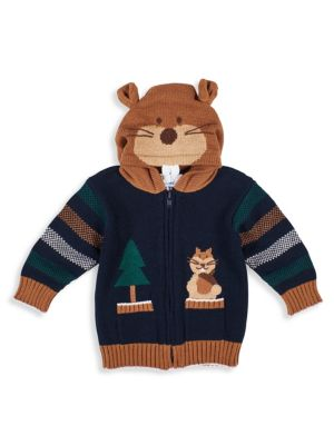 Baby Boy's Getting Squirrely Zip-Up Cotton Sweater