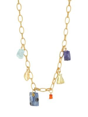 18K Goldplated Sterling Silver & Multi-Gemstone Charm Necklace