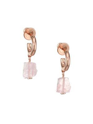 Rose Quartz Huggie Hoop Drop Earrings