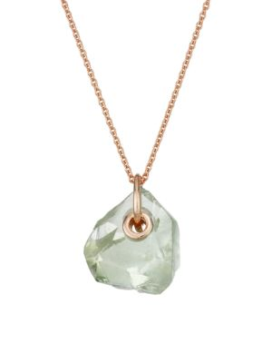 18K Rose Gold Vermeil & Green Amethyst Pendant Necklace