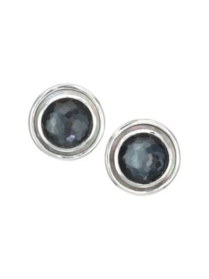 Polished Rock Candy Sterling Silver & Multi-Stone Circle Earrings