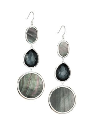 Polished Rock Candy Sterling Silver & Multi-Stone Graduated Drop Earrings