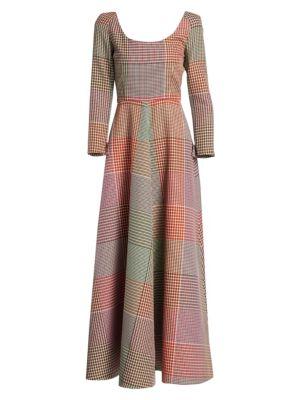 Mixed Plaid Long-Sleeve Dress
