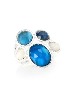 Wonderland Sterling Silver, Rock Crystal & Doublet 5-Stone Ring