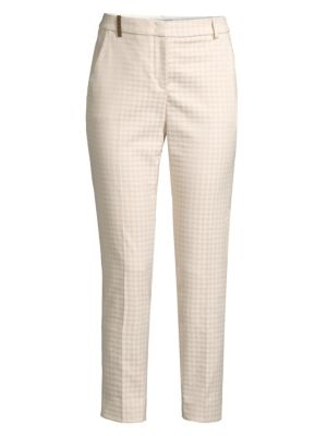 Houndstooth Stretch Ankle Pants