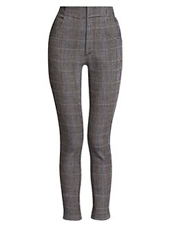 Chloe Stretch Wool Check Cropped Pants