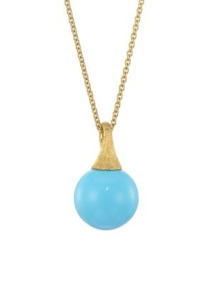Africa 18K Yellow Gold & Turquoise Pendant Necklace