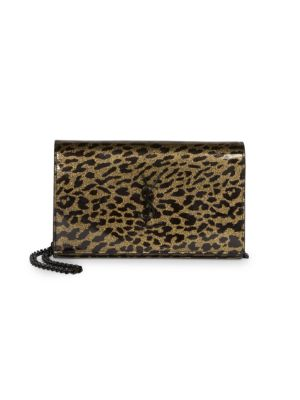 Monogram Leopard-Print Patent Leather Wallet-On-Chain