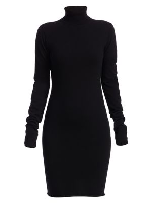 Compact Wool Turtleneck Long-Sleeve Dress