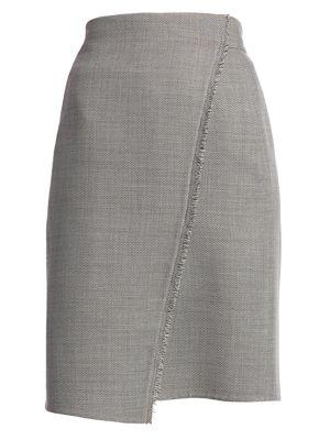 Fringe-Trim Faux Wrap Pencil Skirt