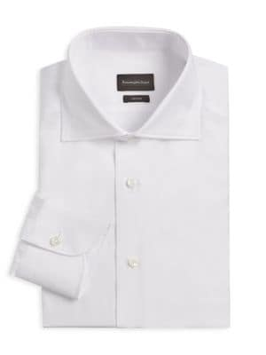 Trofeo Herringbone Cotton Dress Shirt