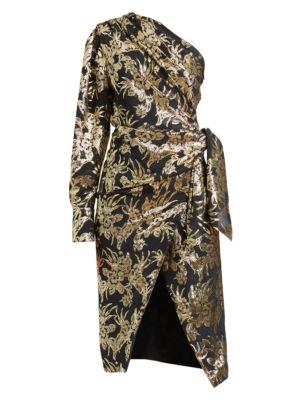 Chanda Metallic Foil One-Shoulder Silk-Blend Dress
