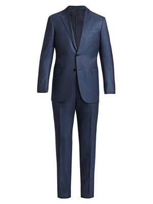 Tonal Plaid Wool Single-Breasted Suit