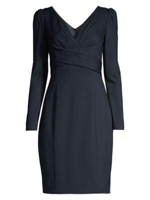 Zoe Ruched Bodice V-Neck Sheath Dress