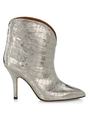 Metallic Croc-Embossed Leather Ankle Boots