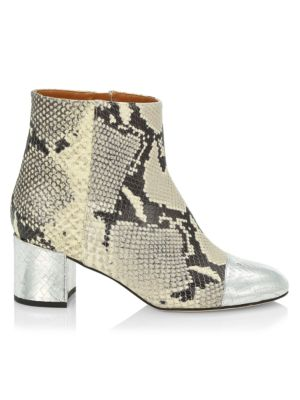 Snakeskin-Embossed & Metallic Croc-Embossed Leather Ankle Boots