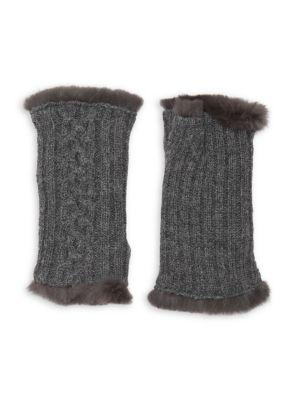 Victoire Rabbit Fur-Lined Fingerless Gloves
