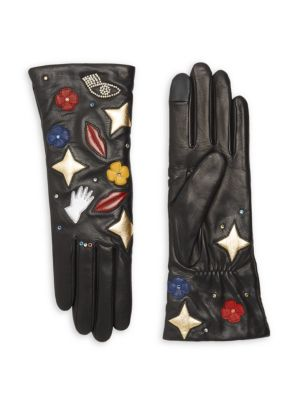 Patch Cashmere-Lined Leather Gloves