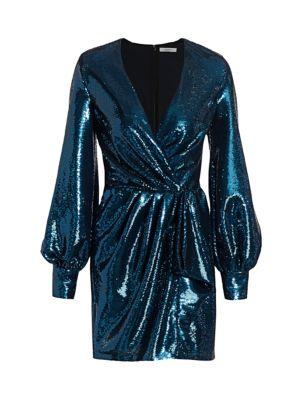 Balloon-Sleeve Paillette Faux Wrap Dress