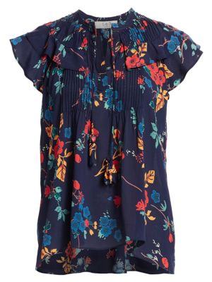 Mari Flutter-Sleeve Floral Top