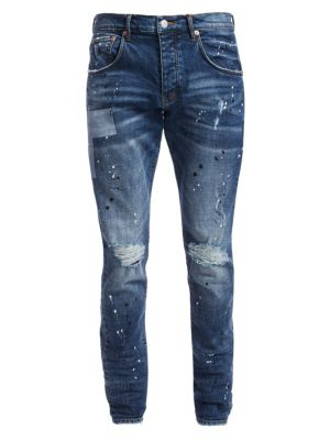 P002 Mid-Rise Reflective Distressed Jeans