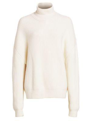 Oversized Wool Rib-Knit Turtleneck Sweater