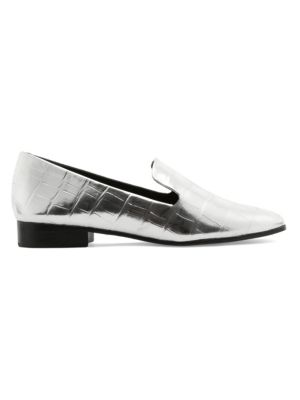 Flor Crocodile-Embossed Leather Loafers