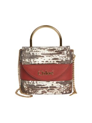 Aby Snakeskin-Embossed Leather Top Handle Bag