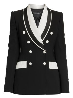 Double Breasted Stretch Silk & Wool Contrast Blazer