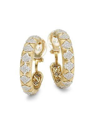 Zena 18K Yellow Goldplated Sterling Silver & Cubic Zirconia Hoop Earrings