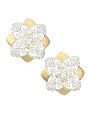 Zena 18K Yellow Goldplated Sterling Silver & Cubic Zirconia Floral Button Earrings