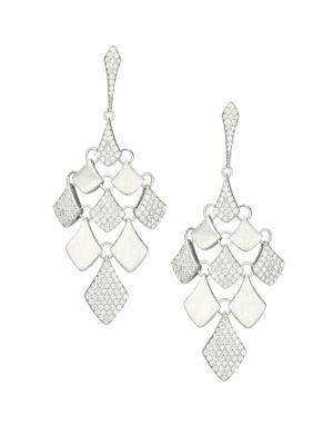 Zena Rhodium-Plated Sterling Silver & Cubic Zirconia Kite Drop Earrings
