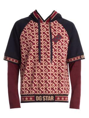 Overlay Hooded Cotton Sweatshirt