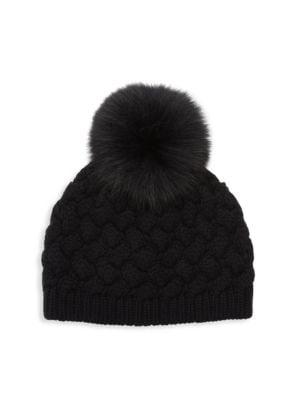 Cashmere & Fox Fur Pom-Pom Beanie