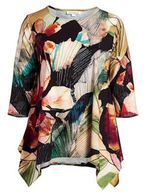 Autumn Hues Printed Stretch-Knit Tunic