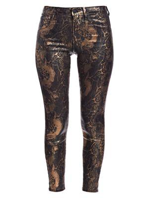 Margot High-Rise Ankle Skinny Foil Python-Print Jeans