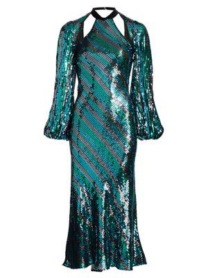 Celia Striped Sequin Open-Back Midi Dress