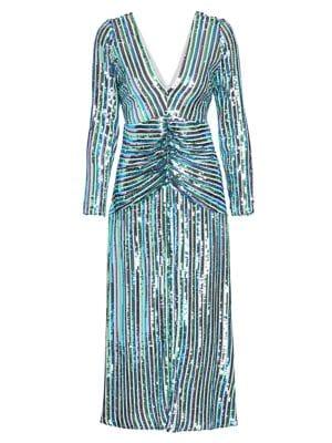 Emmy Stripe Sequin A-Line Dress