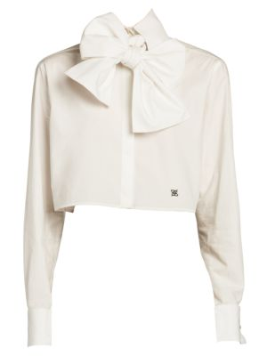 Bow-Detail Monogrammed Crop Blouse