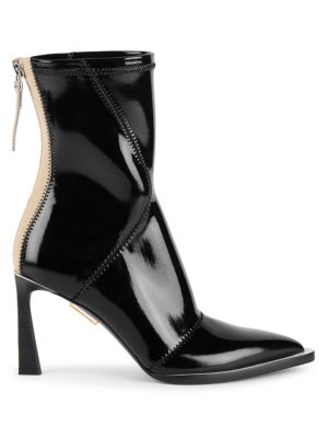 Patent Neoprene Ankle Boots
